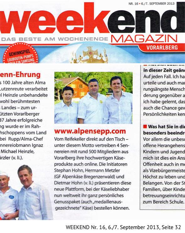 Alpen Sepp im weekend Magazin, Nr. 16, 6./7. September 2013