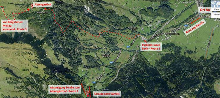 Wanderwege und Routen zum Alpengasthof Edelweiss