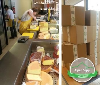 Frischer Käsezuschnitt und Verpackung vom Laib