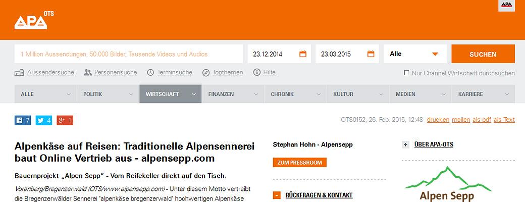 APA Pressebericht Alpen Sepp