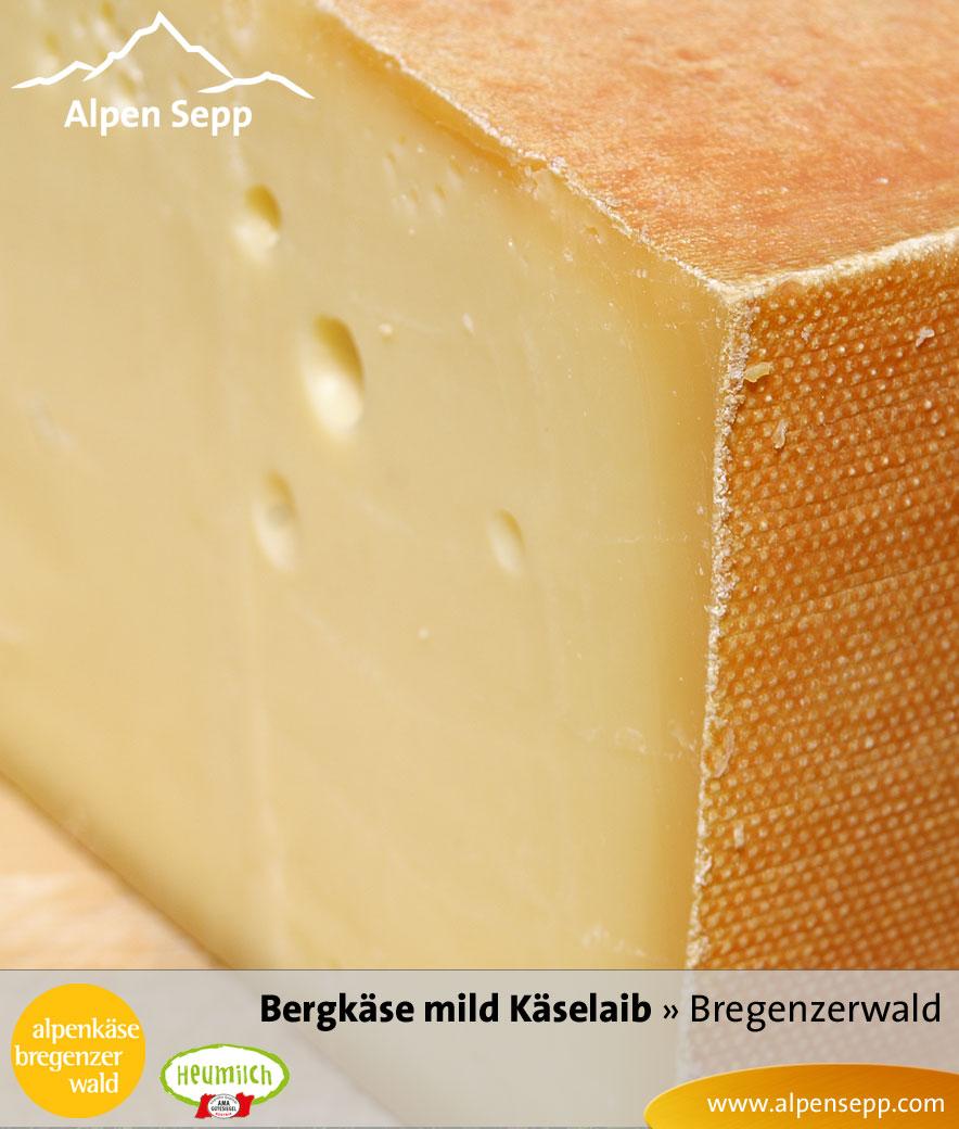 Bergkäse mild, Sennerei Alpenkäse Bregenzerwald, Käselaib