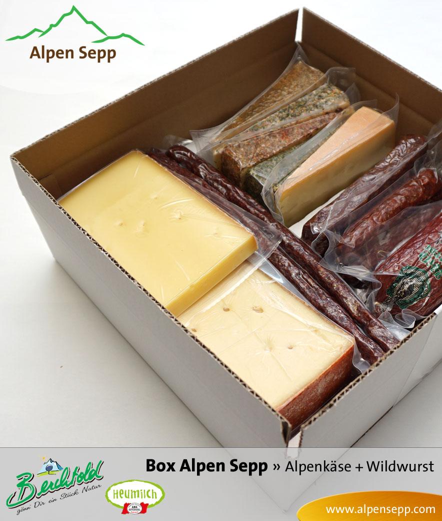 Geschenk Box Alpen Sepp Alpenkäse und Rohwurst Wild