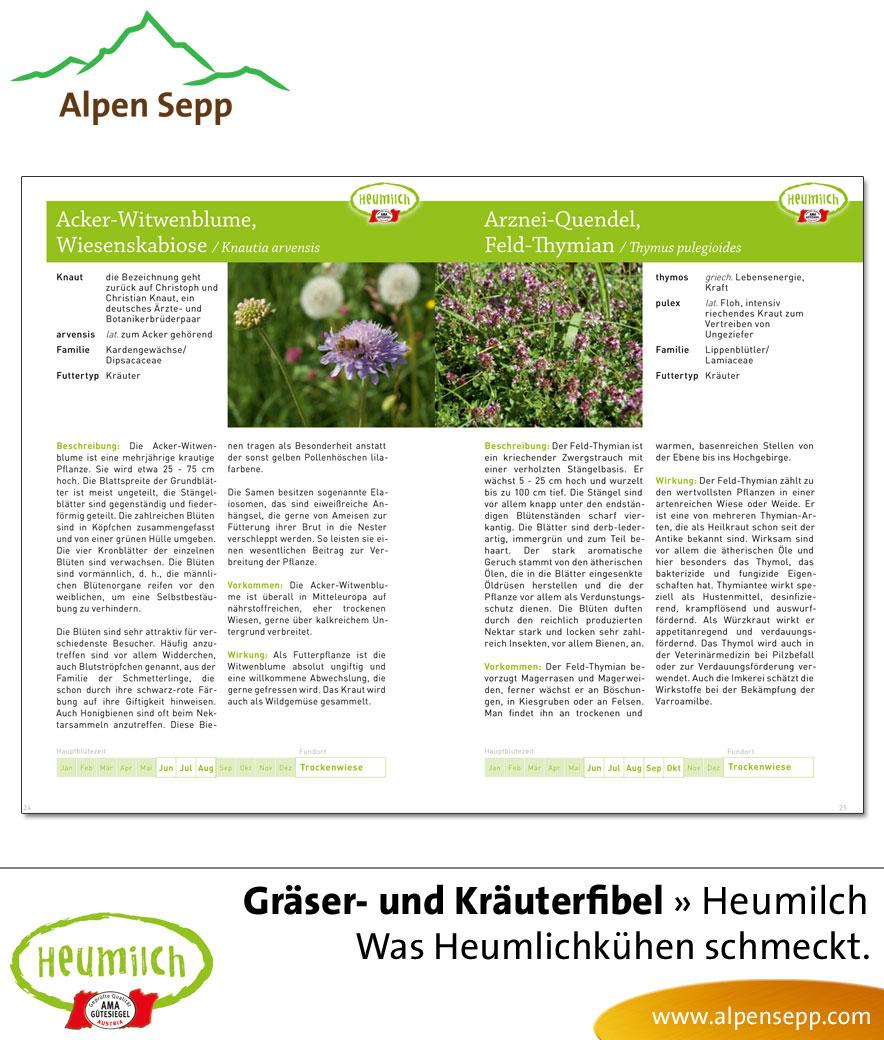 Heumilch Fibel - Lesebuch: Gräserfibel Kräuterfibel, was Heumilchkühen schmeckt