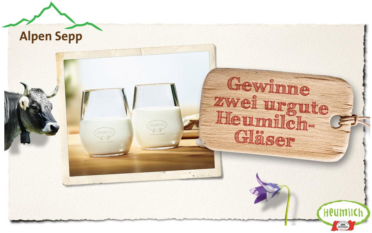 Heumilch Gewinnspiel Milchglas