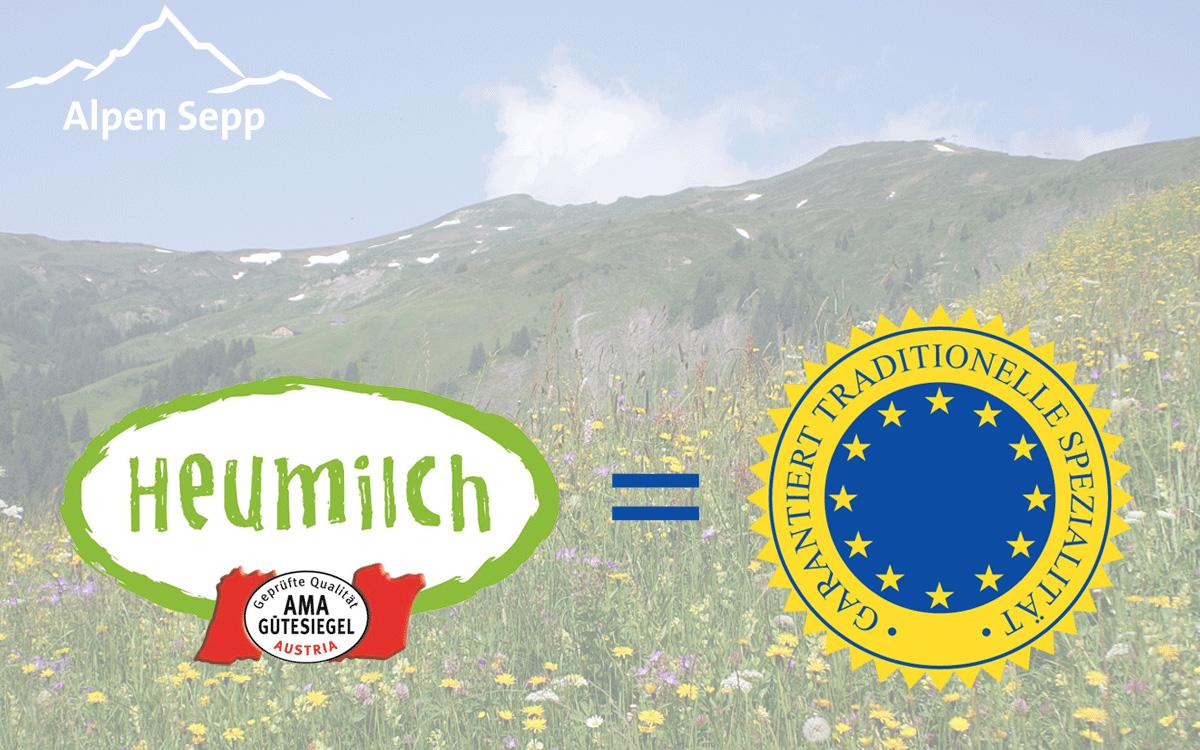 Heumilch eine garantiert traditionelle Spezialität EU Gütesiegel g.t.S.