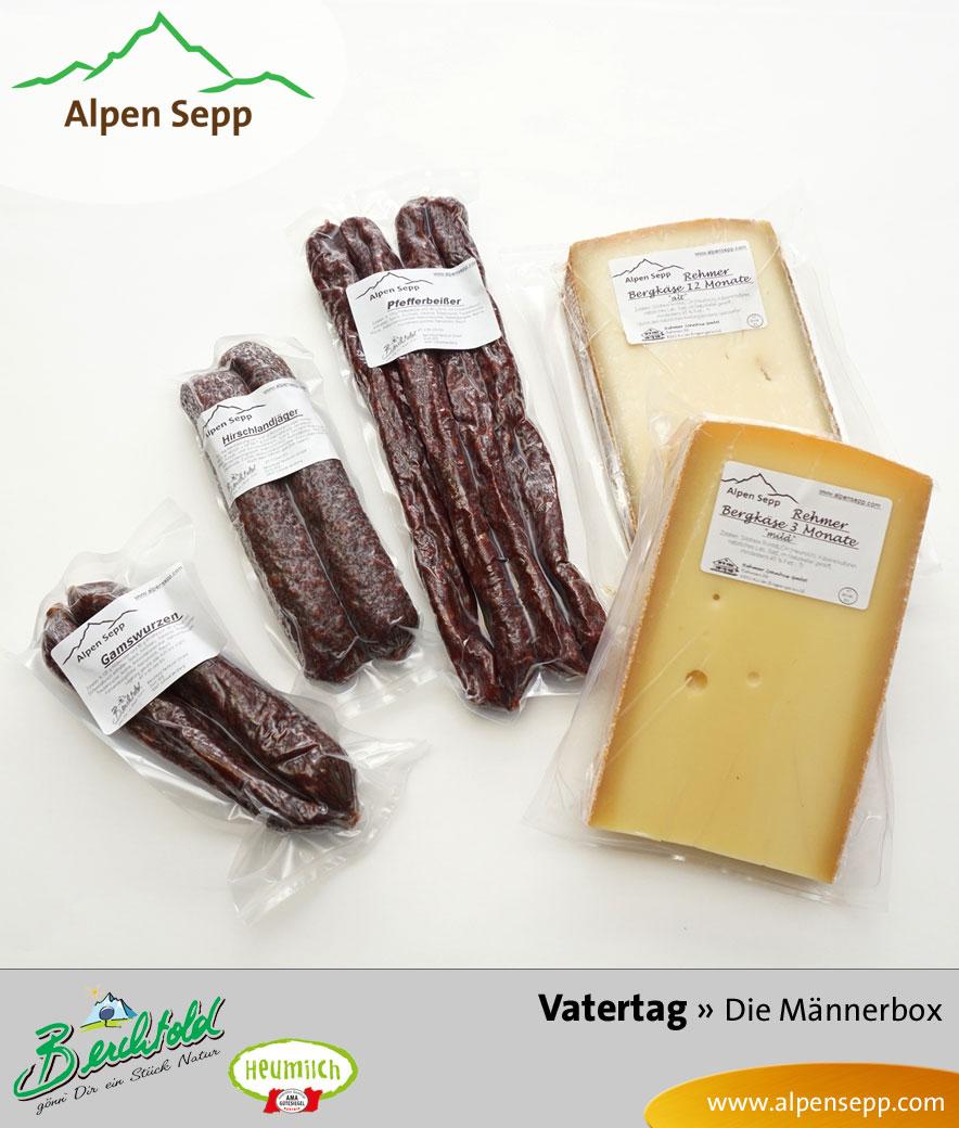 Wildwurst und Alpenkäse in der Männerbox zum Vatertag