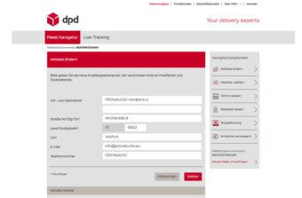 DPD Predict Adresse der Zustellung ändern