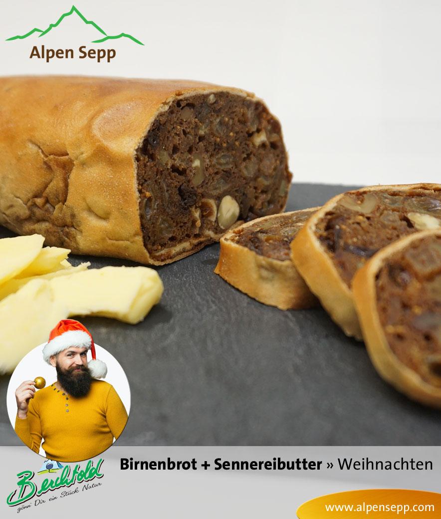 Birnenbrot mit Sennerei Butter im Weihnachtsset