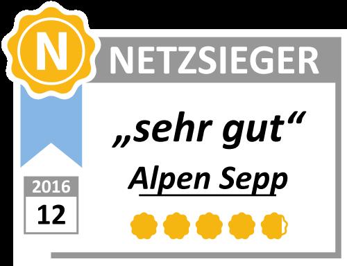 """Testwertung """"Sehr Gut"""" für Alpen Sepp von netzsieger.de"""