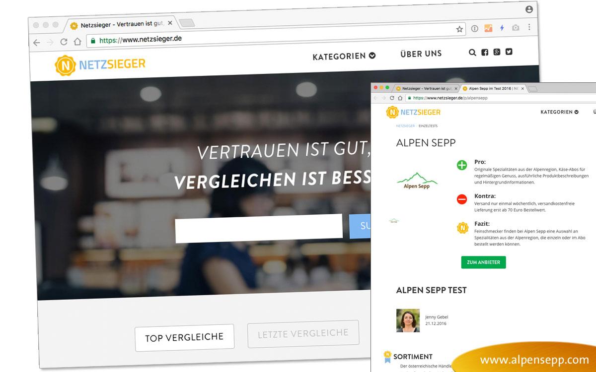 """Wertung """"Sehr Gut"""" für Alpen Sepp von netzsieger.de"""
