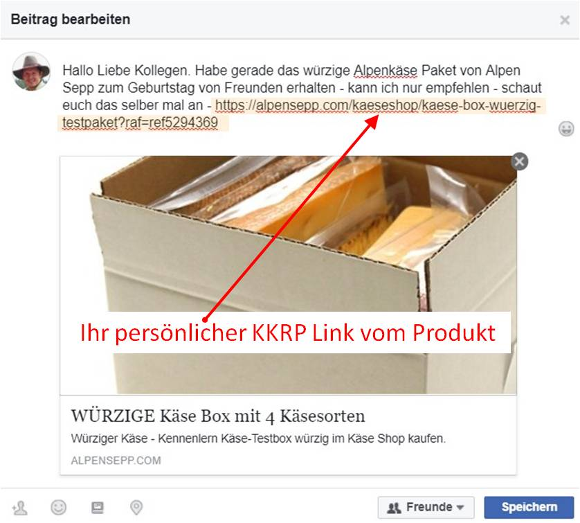 KKRP Verlinkung auf facebook